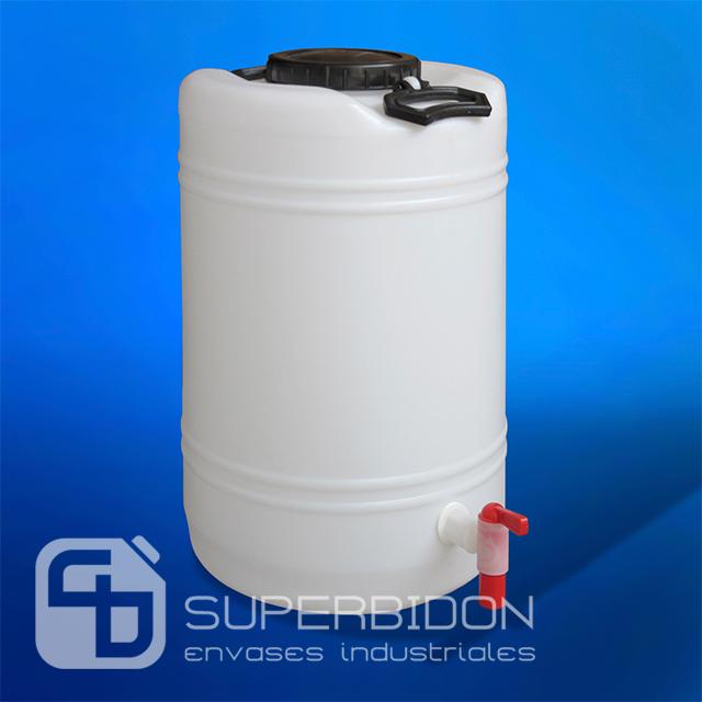 Bidón 25 litros tapa grande con llave plástica de alto flujo