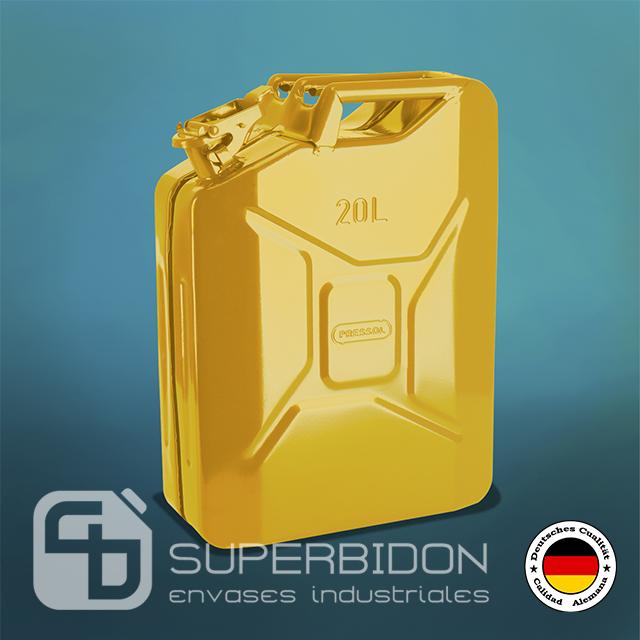 Bidón 20 litros metálico para combustible Pressol amarillo