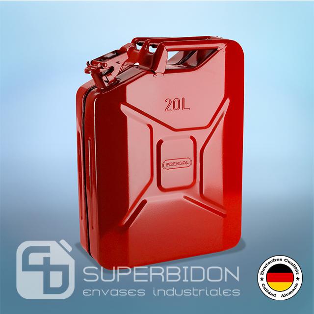 Bidón 20 litros metálico para combustible Pressol rojo