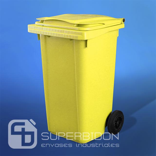 Basurero 240 litros amarillo con tapa y ruedas