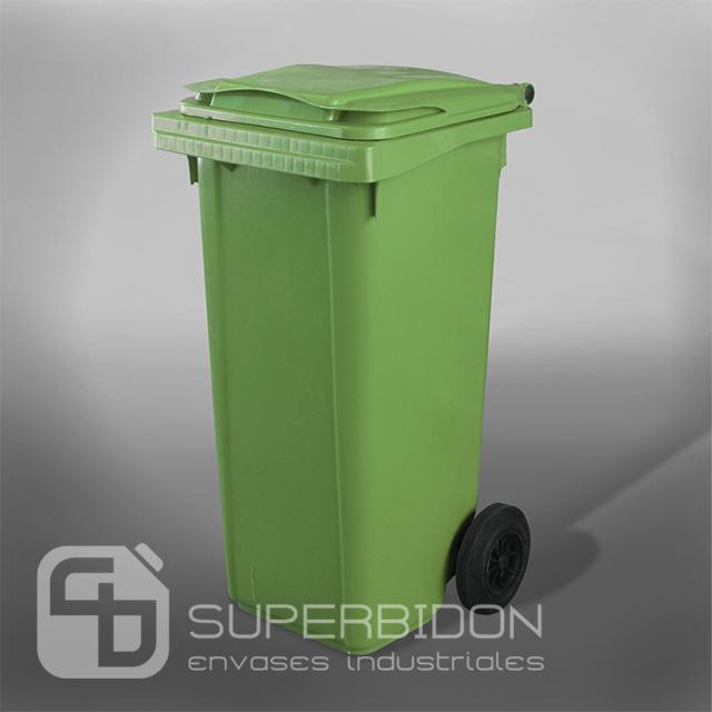 Basurero 120 litros verde con tapa y ruedas