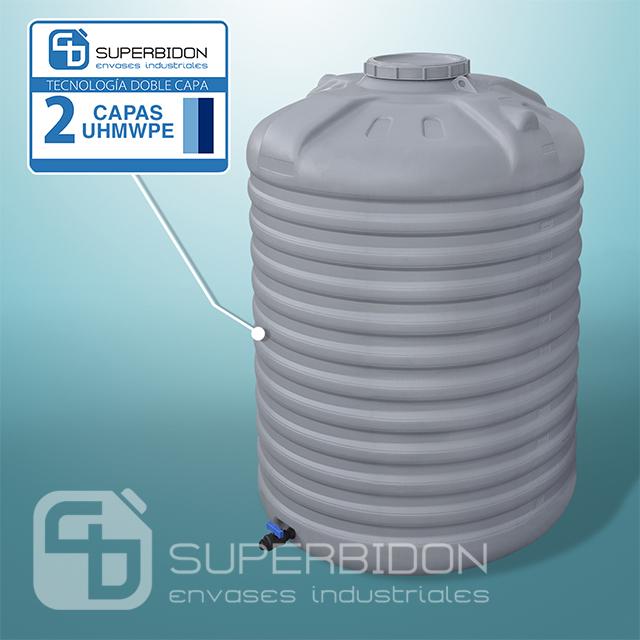 Estanque vertical de 3000 litros con válvula esférica 25 mm